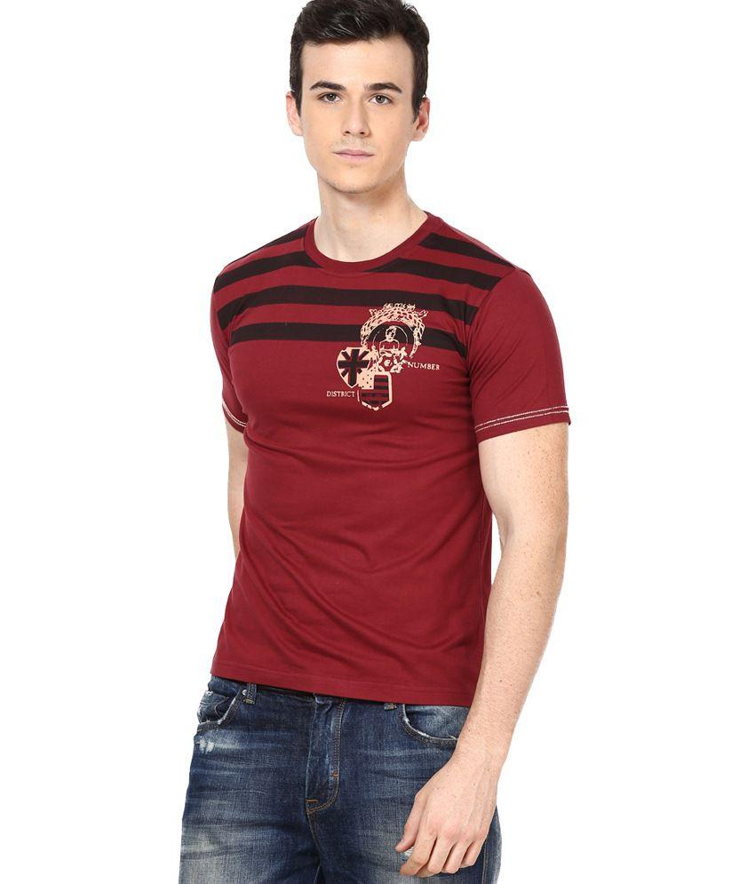Shanty Maroon Half Cotton Round T-Shirt