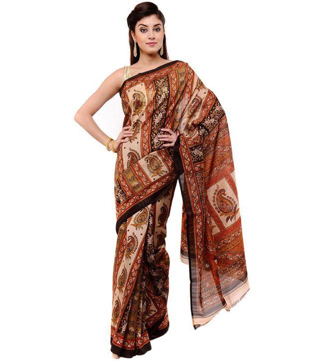 Vida Multi Art Silk Banarasi Saree With Blouse Piece