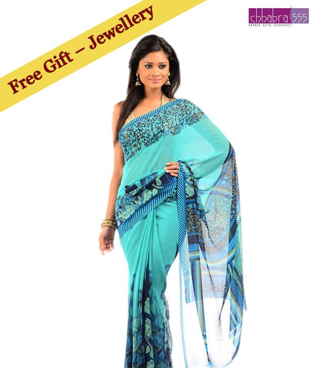 Chhabra 555 Spring Green Art Georgette Printed Saree With Free High-End Jewelry Piece