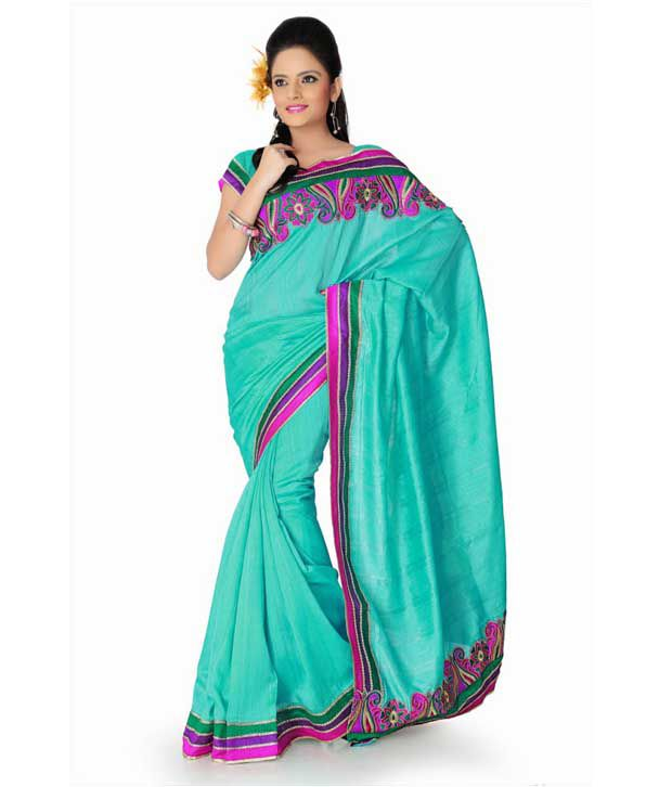Designersareez Awesome Aqua Green Embroidered Saree