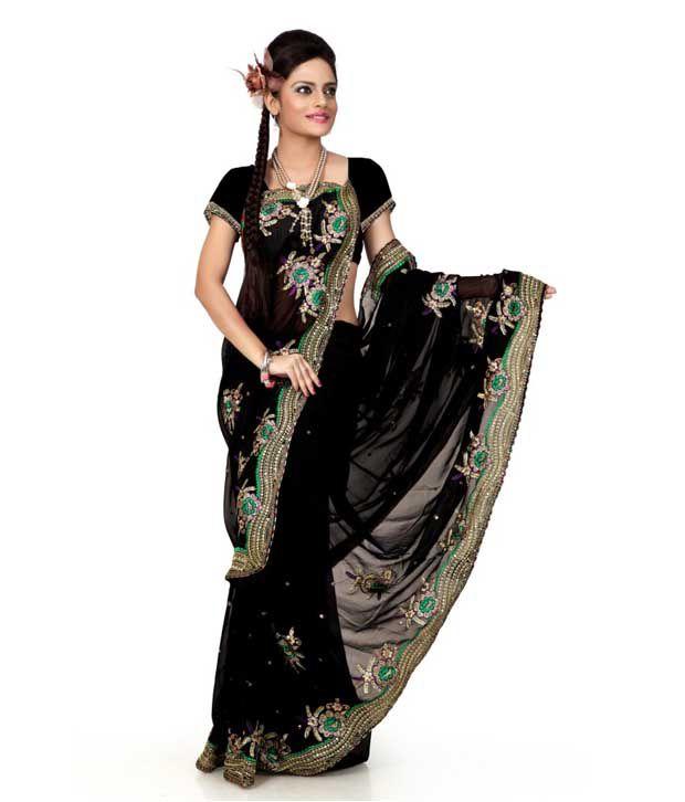 Designersareez Black Embroidered  Saree