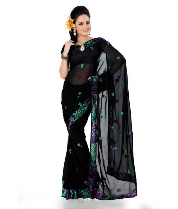 Designer Sarees Black Semi Chiffon Saree