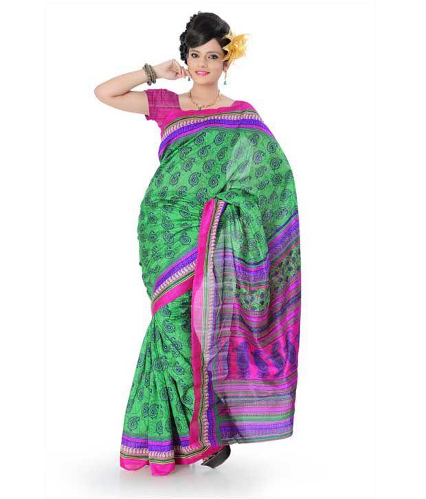 Designersareez Pretty Green-Purple Printed Saree