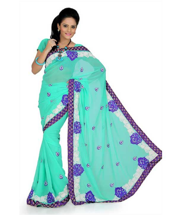 Designer Sarees Green Georgette Saree