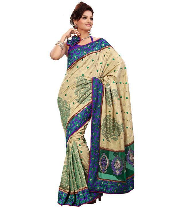 Fabdeal Multi-Coloured Embroidered Art Silk Saree