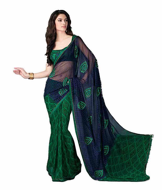 Khazana Blue Semi Chiffon Saree