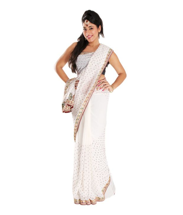 43e9938fba RCPC Off White Mukesh Work Saree - Buy RCPC Off White Mukesh Work Saree  Online at Low Price - Snapdeal.com
