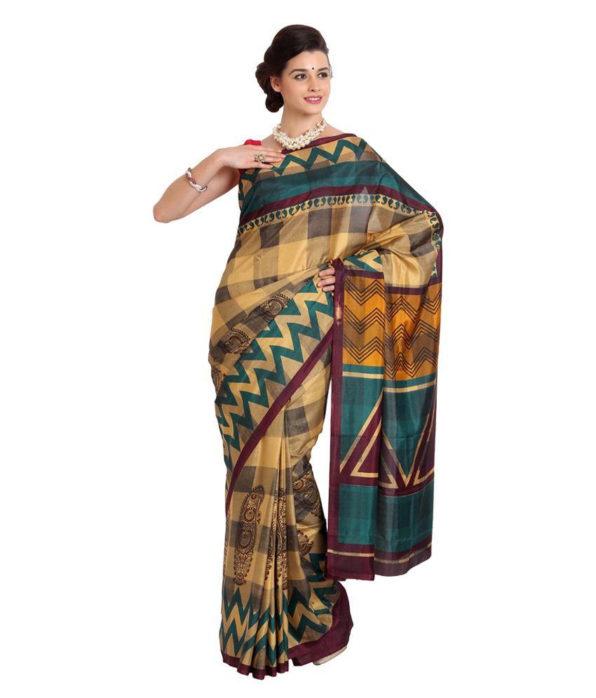 Satrang Beige Printed Art Silk Saree