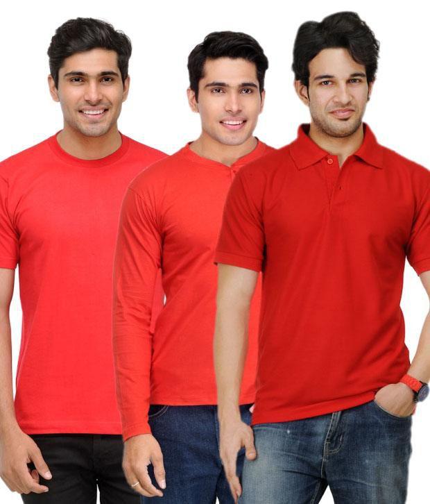 TSX Red Half Cotton Round  T-Shirt