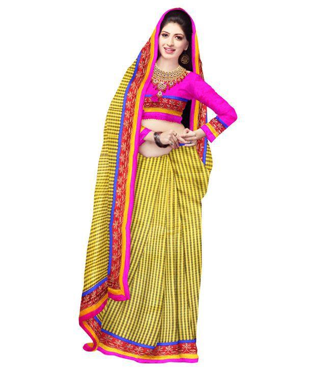 Unnati Silks Yellow Chanderi Cotton Saree