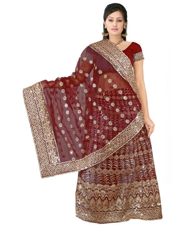 Zoom Fabric Maroon Net Embroidered Saree With Blouse Piece