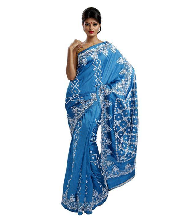 9rasa Blue And Grey Gujarati Kutch Embroidered Silk Saree Buy