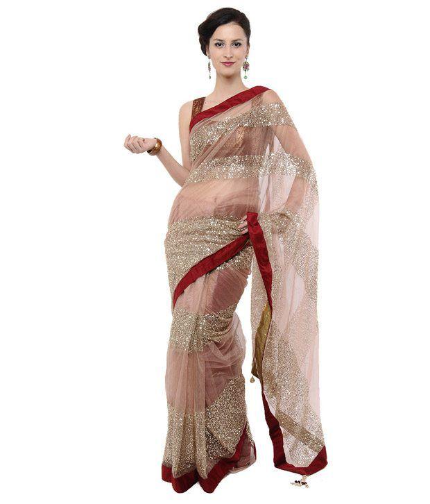 Beige Sequin Embroidered Net  Saree