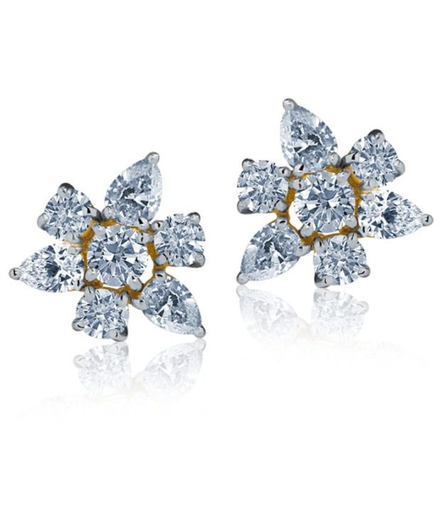 Caratlane Contemporary Pear-cut 18 Kt Certified, Real Diamond & Hallmarked Gold Earring