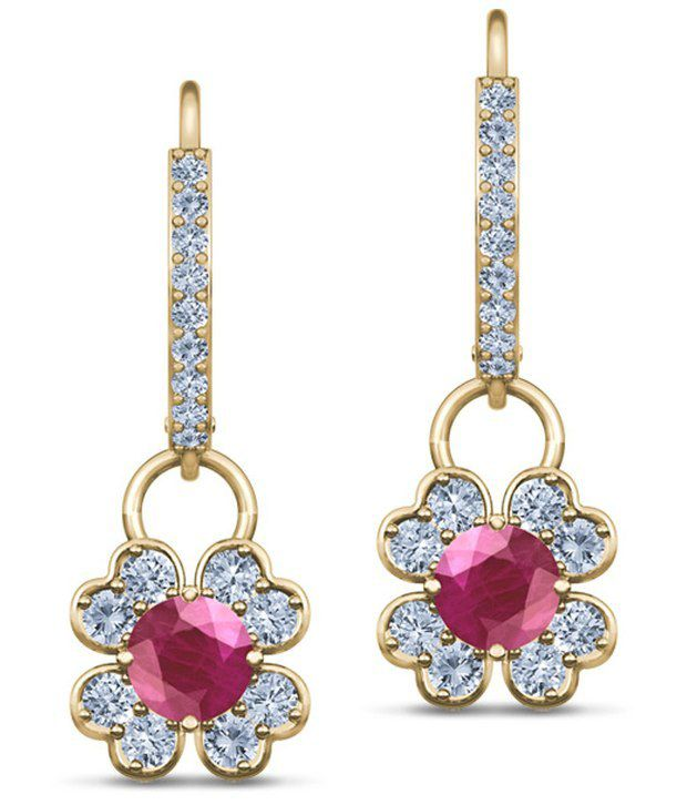 Caratlane Forever Floral Ruby 18 Kt Certified, Real Diamond & Gemstone & Hallmarked Gold Earring