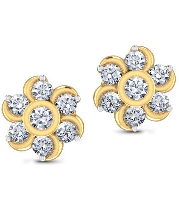Caratlane Seven-stone 18 Kt Certified, Real Diamond & Hallmarked Gold Earring