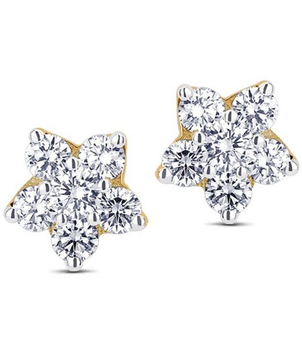Caratlane Six-stone Floral 18 Kt Certified, Real Diamond & Hallmarked Gold Earring