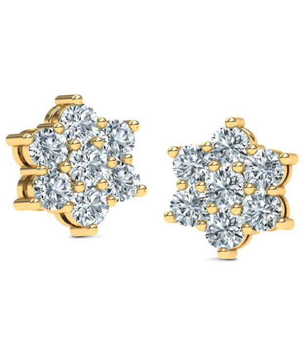 Caratlane Snowflake 7 Stone 18 Kt Certified Real Diamond Hallmarked Gold Earring