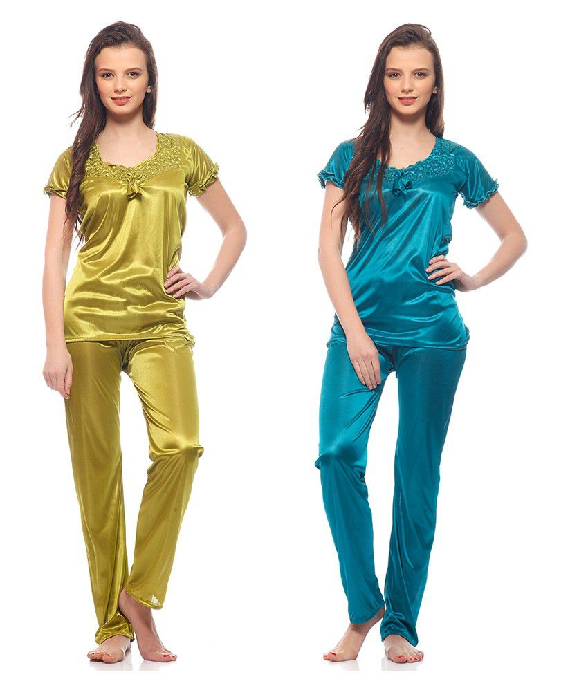 FOR SHE Multi Color Poly Satin Nighty & Night Gowns Pack of 2