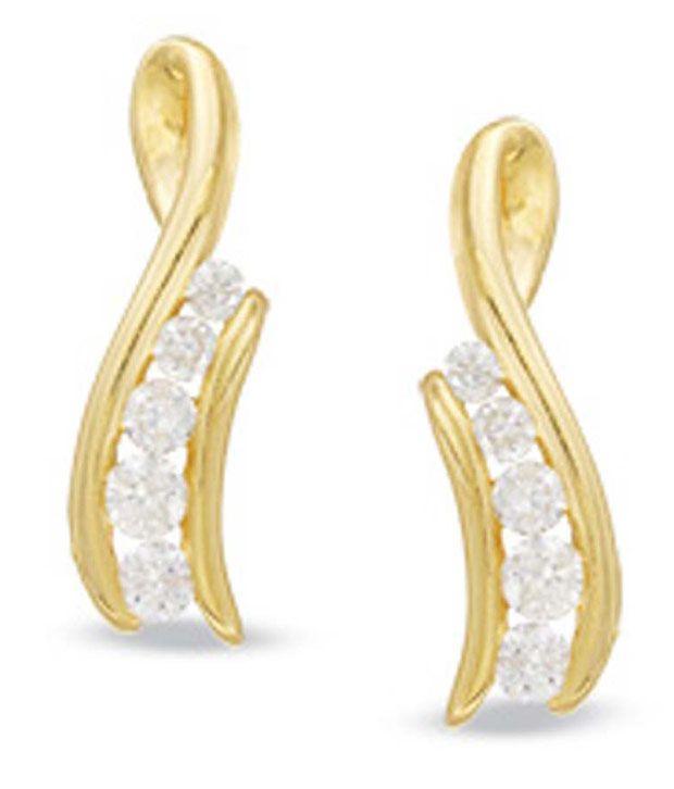 INT 14kt White Gold 0.50ct. Ten Diamond Earrings