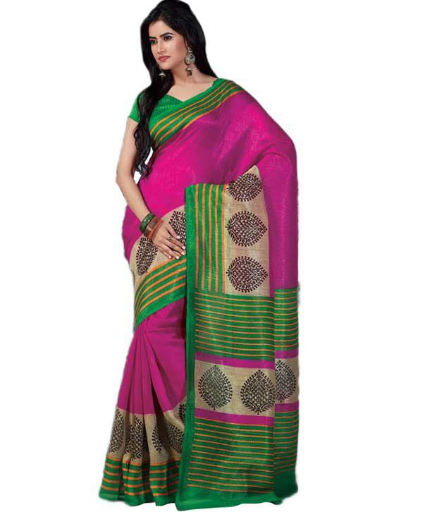 Khazana Pink Art Silk Saree
