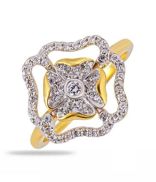Shashvat Jewels 18Kt Elegance Floral Bezel Set Diamond Ring