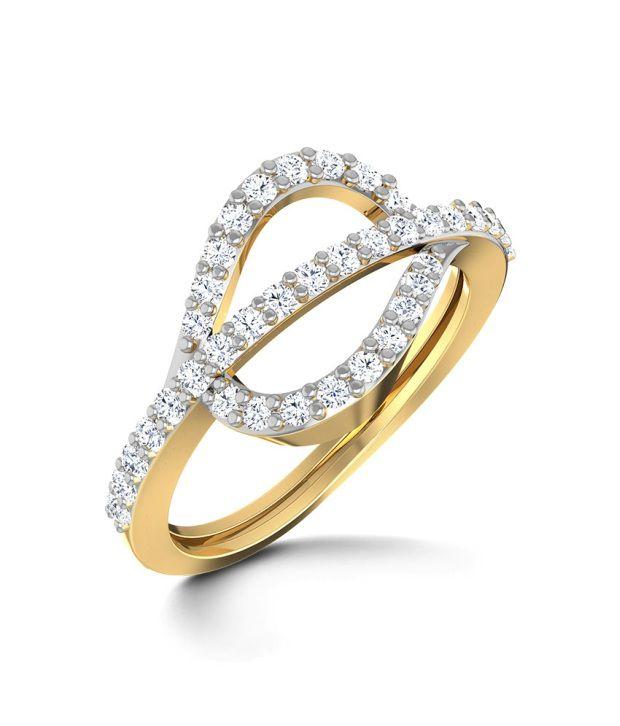 Caratlane Studded Phi Ring