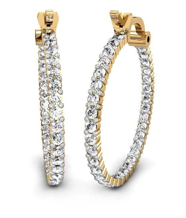 candere 18Kt Hallmarked Gold & Diamond Banni Diamond Earring