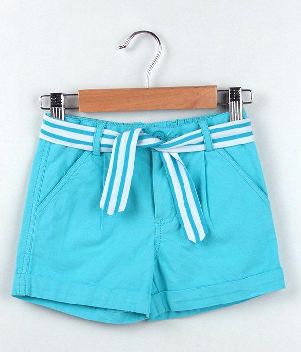 Beebay Light Blue Color Canvas Basic Shorts For Kids