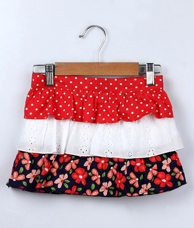 Beebay Red Color 3 Tier Ruffle Printed Skirt For Kids