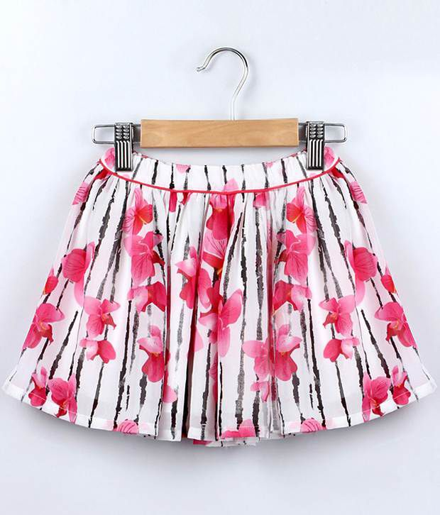 Beebay White Color Floral Printed Skirt For Kids