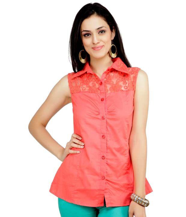 Raindrops Pink Solid Cotton Shirt