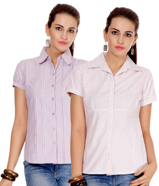 Style Quotient Purple-Rust Printed Cotton Shirts Combo Of 2
