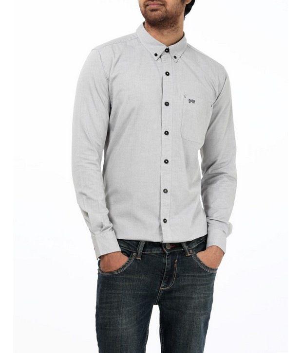 Basics 029 Light Grey Solid Shirt