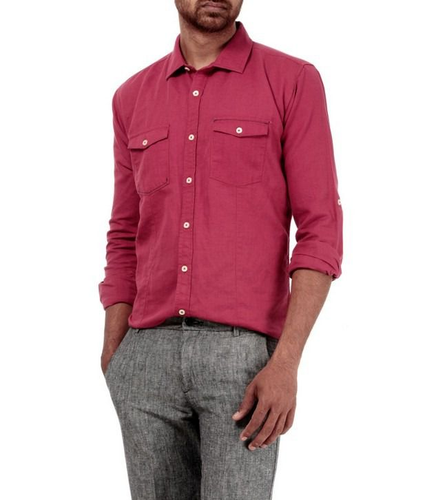 Basics 029 Red Solid Shirt