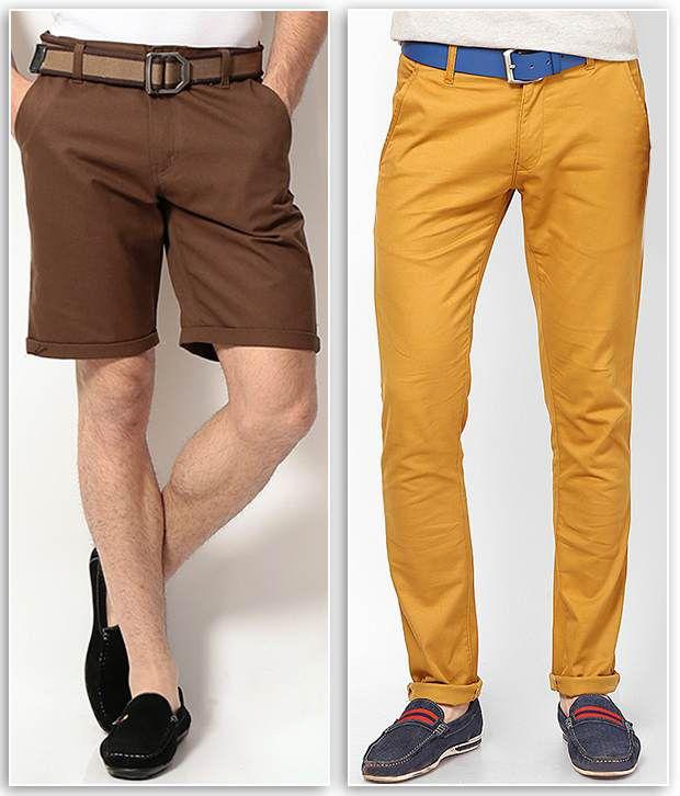 PHOENIX Brown Cotton Solids Shorts