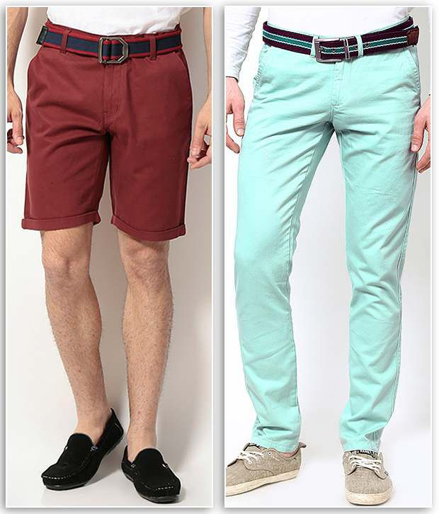 PHOENIX Maroon Cotton Solids Shorts