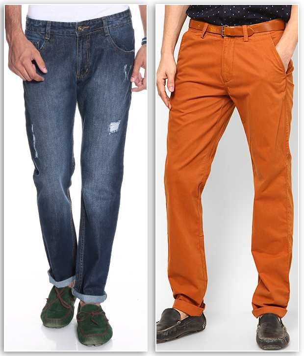 PHOENIX Orange Regular Casuals Chinos