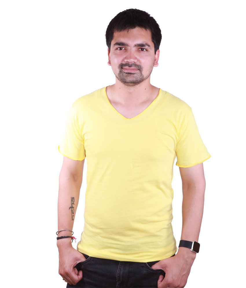 SAT Yellow Half Cotton V-Neck T-Shirt