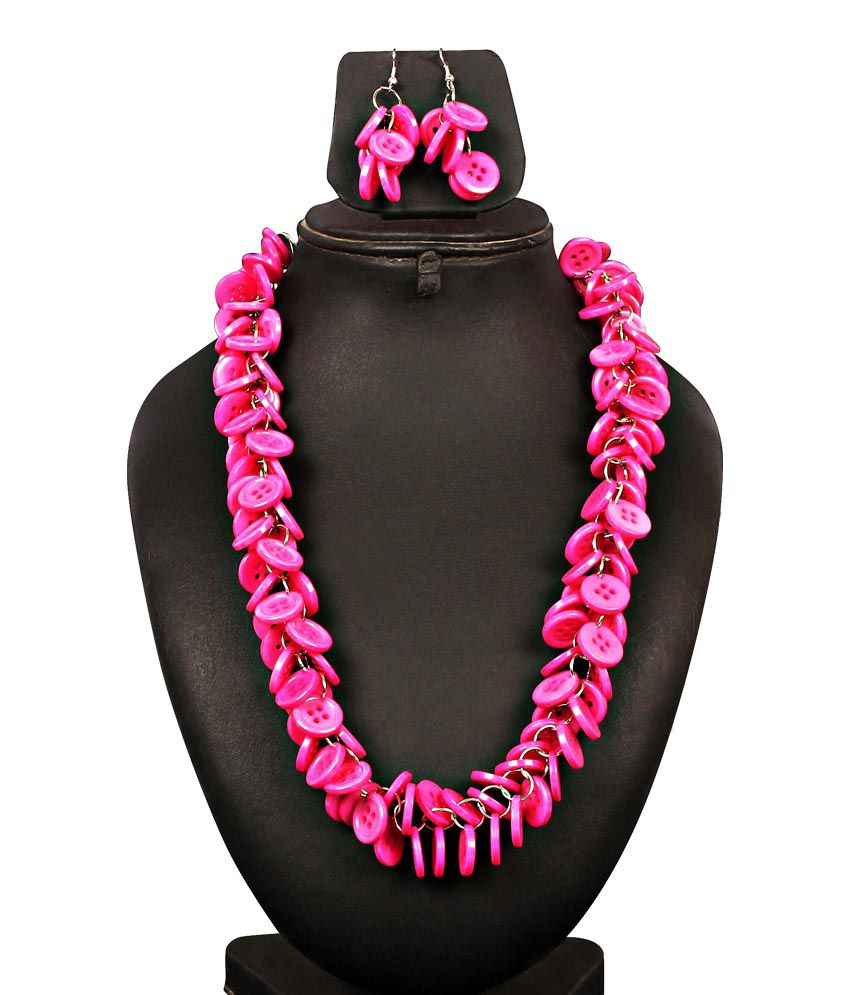 Stylecully Pink Button Necklace Set
