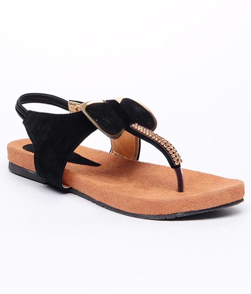 Sindhi Footwear Black Dazzling Sandals