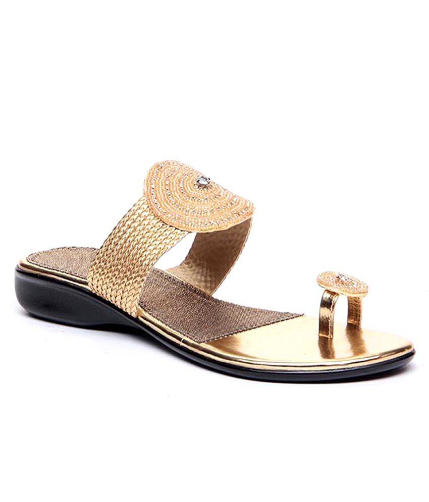 Sindhi Footwear Golden Elegant Slip-ons