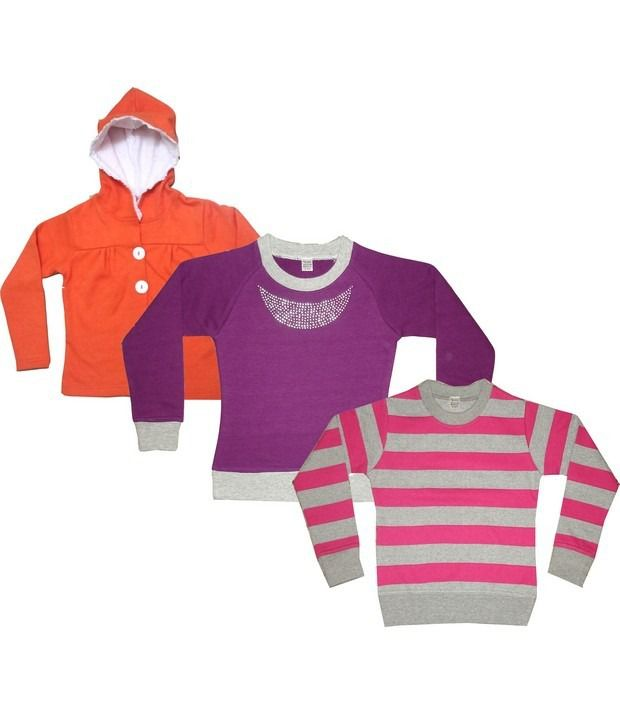Goodway Pack Of 3 Girls Tees + Yarn Dyed Sweatshirt + Hooded Pull Over Combo-13