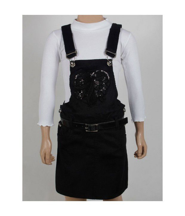 Vine Black Dungarees For Infant Girls