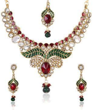 Shinning Diva Leafy Enamelled Kundan Necklace Set With Maang-Tika
