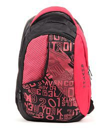 Walletsnbags Red Euro Backpack with Trendy Prints