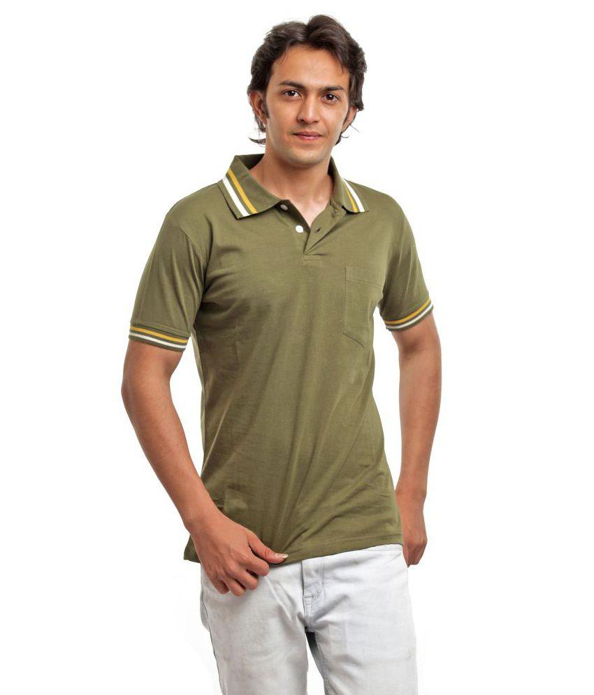 Biker Gang Green Half Cotton Henley  T-Shirt