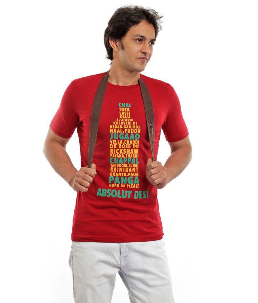 Biker Gang Red Half Cotton Round  T-Shirt