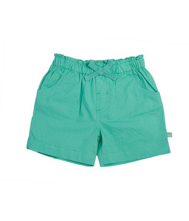 FS Mini Klub Green Basic Woven Shorts For Kids