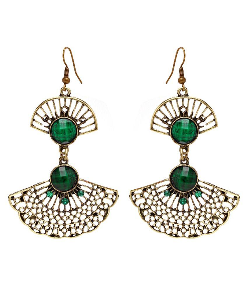Fan Designed Pretty Green Antique Look Hanging Earrings by Create A witty INC.